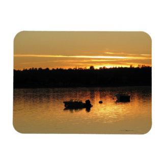 Boats At Sunset Rectangular Photo Magnet