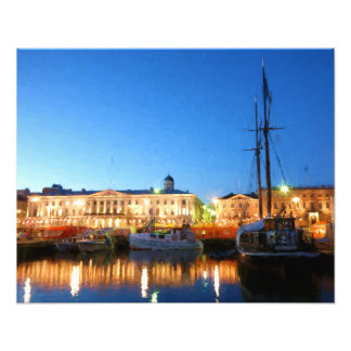 Boats at the Helsinki Market Square on evening Photo Print