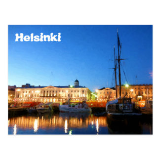 Boats at the Helsinki Market Square on evening Postcard