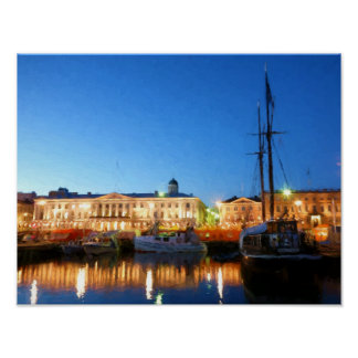 Boats at the Helsinki Market Square on evening Poster