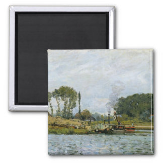 Boats at the lock at Bougival, 1873 2 Inch Square Magnet