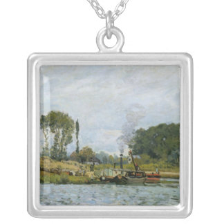 Boats at the lock at Bougival, 1873 Custom Jewelry