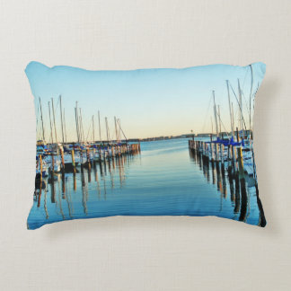 Boats At The Marina by Shirley Taylor Accent Pillow