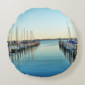 Boats At The Marina by Shirley Taylor Round Pillow