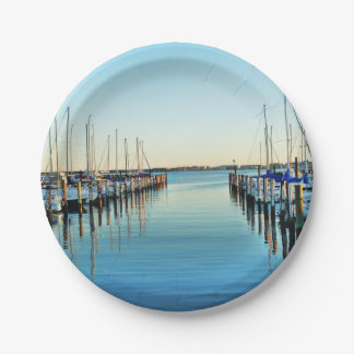 Boats At The Marina 7 Inch Paper Plate