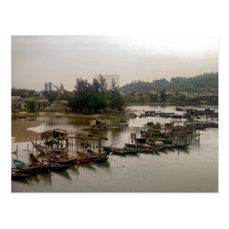 Boats at Vietnamese Fishing Village Postcard