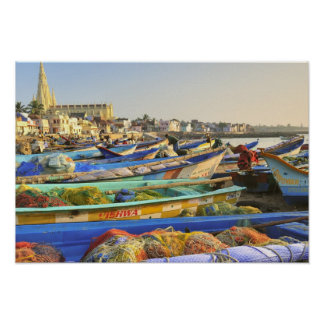 Boats being readied for fishing, The Church of Poster
