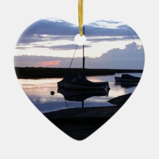 Boats Blakeney at dusk Double-Sided Heart Ceramic Christmas Ornament