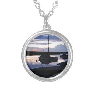 Boats Blakeney at dusk Round Pendant Necklace