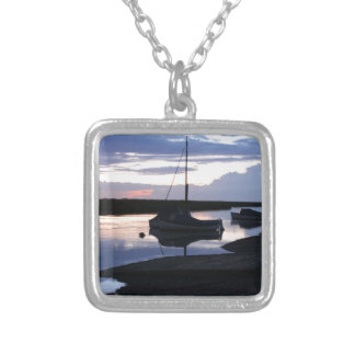 Boats Blakeney at dusk Silver Plated Necklace