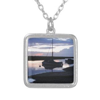 Boats Blakeney at dusk Square Pendant Necklace