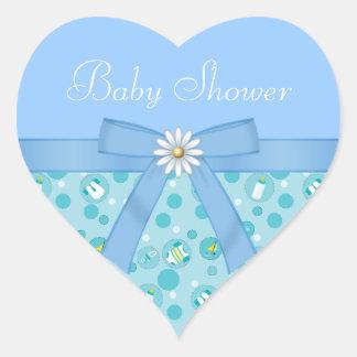 Boats, Bottle & Bow Boys Blue Baby Shower Heart Sticker