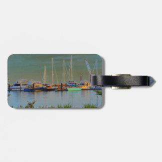 boats by dock surreal coloring florida bag tag