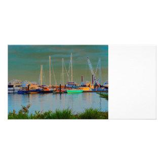 boats by dock surreal coloring florida photo card