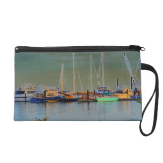 boats by dock surreal coloring florida wristlet