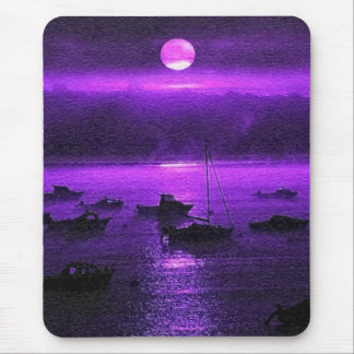 Boats by Moonlight Mouse Pad