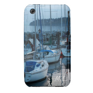boats by the beach in twilight. iPhone 3 cover