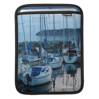 boats by the beach in twilight. iPad sleeve