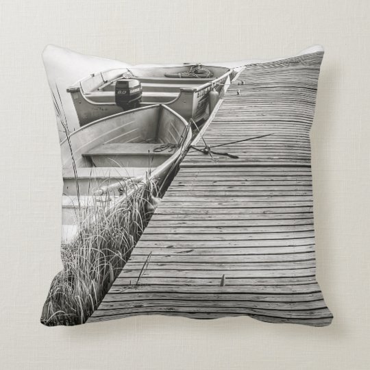 Boats by the Dock Throw Pillow