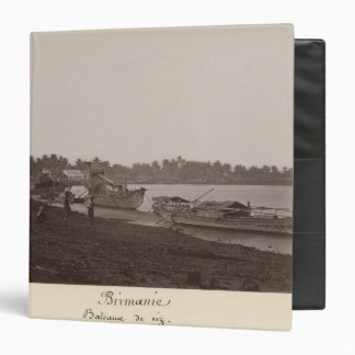 Boats carrying rice on the River Thanlwin 3 Ring Binder