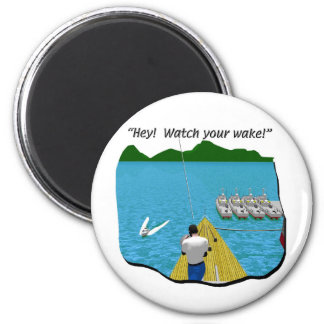 Boats - Cartoon - Watch your Wake 2 Inch Round Magnet