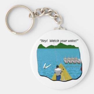 Boats - Cartoon - Watch your Wake Basic Round Button Keychain