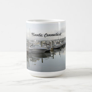 boats docked in a marina in Niantic Connecticut Coffee Mug