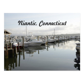 boats docked in a marina in Niantic Connecticut Postcard