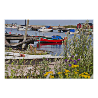 Boats docked in small harbor poster