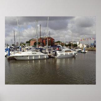 Boats Docking At The Marina Poster