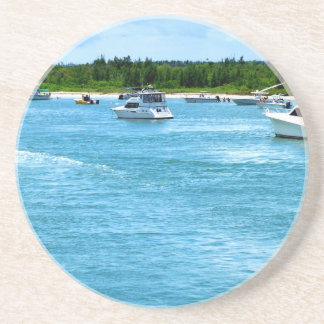 boats going out to sea in Florida Drink Coaster