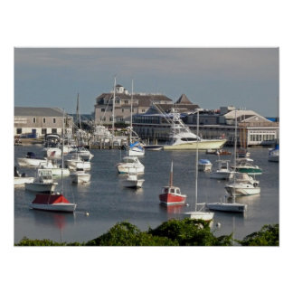 Boats in a Cape Cod Harbor during Summer Poster