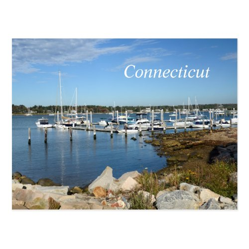 boats in a marina in Stonington Connecticut Postcard