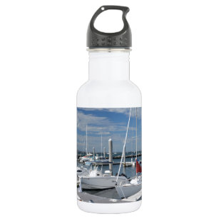 boats in a marina in Stonington, Connecticut Stainless Steel Water Bottle