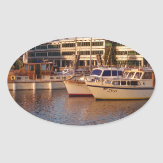 Boats In A Marina Oval Sticker