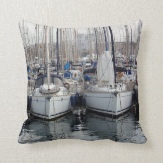 Boats in Barcelona Throw Pillow
