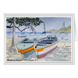 Boats in Bequia, Grenadines, W.I. Card