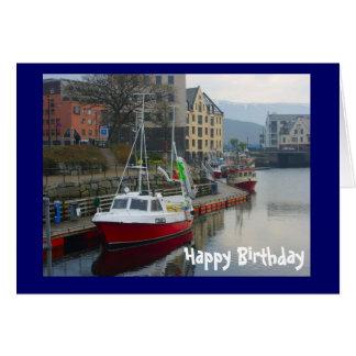 Boats in Bergen, Happy Birthday Card