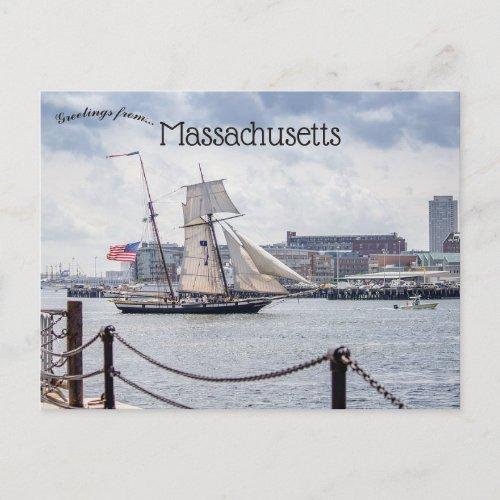 Boats in Boston Harbor Massachusetts Postcard
