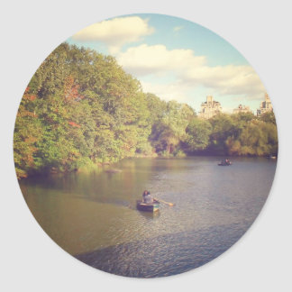 Boats in Central Park's Pond, New York City Classic Round Sticker