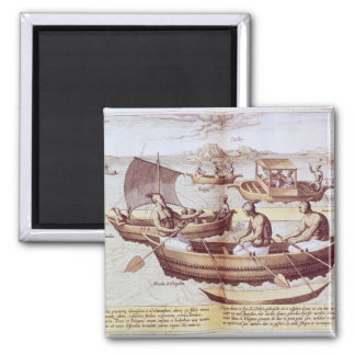 Boats in Goa 2 Inch Square Magnet