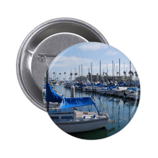 Boats in harbor 2 inch round button