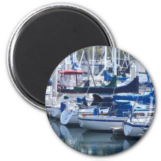 Boats in Harbor 2 Inch Round Magnet
