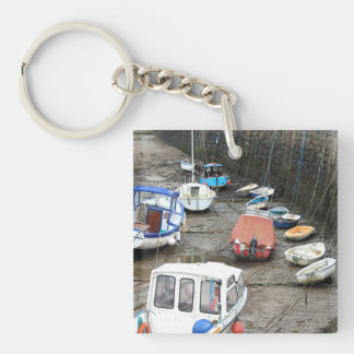 Boats in Harbor at Low Tide. Keychain