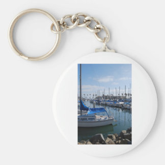 Boats in harbor basic round button keychain
