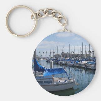 Boats in harbor keychain