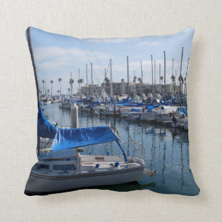 Boats in harbor pillow