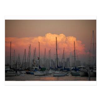 Boats in harbor postcard