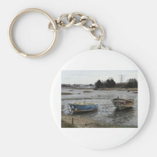 Boats in Holes Bay, Dorset Basic Round Button Keychain