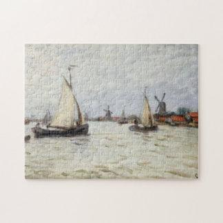 Boats in Holland near the Zaandam Monet Fine Art Jigsaw Puzzle